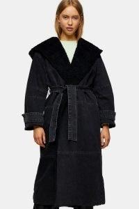 Topshop Black Denim Borg Hooded Jacket | casual self tie coats
