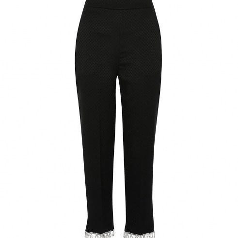 River Island Black diamante hem trousers | party fashion | embellished hems | evening pants - flipped