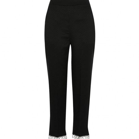 River Island Black diamante hem trousers | party fashion | embellished hems | evening pants