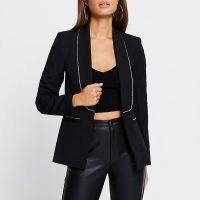 RIVER ISLAND Black diamante trim long sleeve blazer   embellished blazers   glamorous evening jackets   party glamour