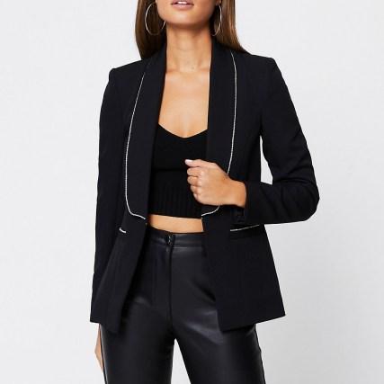 RIVER ISLAND Black diamante trim long sleeve blazer | embellished blazers | glamorous evening jackets | party glamour - flipped