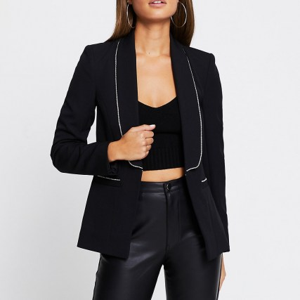 RIVER ISLAND Black diamante trim long sleeve blazer | embellished blazers | glamorous evening jackets | party glamour