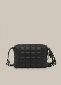 WHISTLES ELIAS QUILTED CROSSBODY BAG / small black leather bags