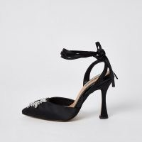 RIVER ISLAND Black embellished tie ankle court shoes ~ party courts