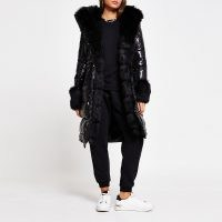 RIVER ISLAND Black faux fur cuff padded parka coat / high shine winter coats / glossy parkas