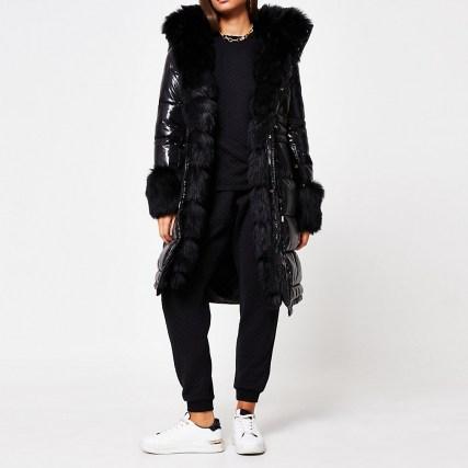 RIVER ISLAND Black faux fur cuff padded parka coat / high shine winter coats / glossy parkas - flipped