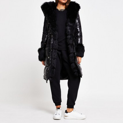 RIVER ISLAND Black faux fur cuff padded parka coat / high shine winter coats / glossy parkas
