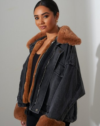 FOREVER UNIQUE Black Faux Fur Denim Jacket / trimmed winter jackets / casual style - flipped