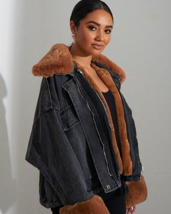 FOREVER UNIQUE Black Faux Fur Denim Jacket / trimmed winter jackets / casual style
