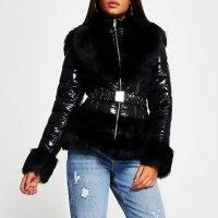 RIVER ISLAND Black faux fur hem fitted padded coat | shiny fur trimmed winter coats
