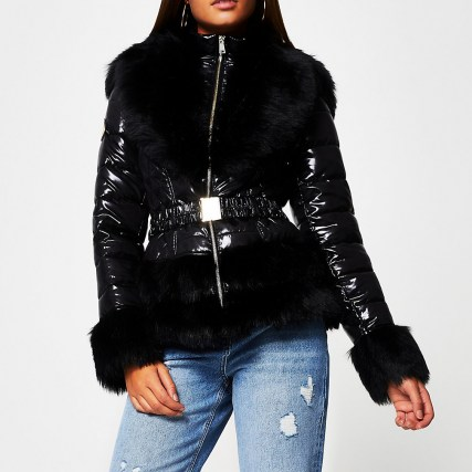 RIVER ISLAND Black faux fur hem fitted padded coat   shiny fur trimmed winter coats - flipped