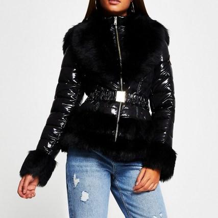 RIVER ISLAND Black faux fur hem fitted padded coat   shiny fur trimmed winter coats