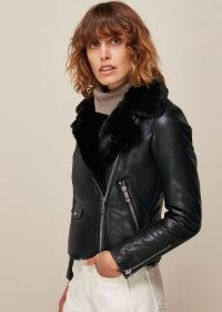 WHISTLES FAUX FUR LINED AGNES BIKER / black leather zip detail jackets