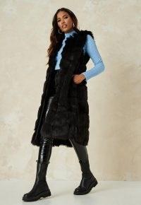 Missguided black faux fur maxi gilet – longline fluffy gilets