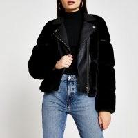 River Island Black faux fur panelled biker jacket | furry winter jackets