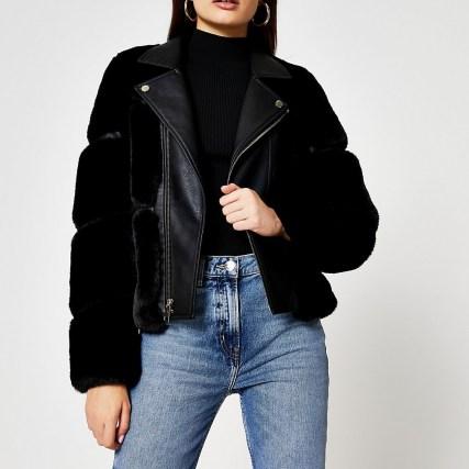 River Island Black faux fur panelled biker jacket | furry winter jackets - flipped