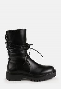 MISSGUIDED black faux leather wrap ankle boots – wrap around detail chunky tread boot