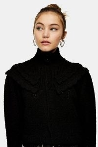 Topshop Black Frill Pointelle Knitted Cardigan | fashionable knitwear | romantic look cardigans