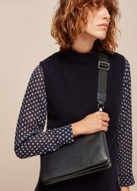 WHISTLES KATIE TRIPLE POUCH BAG / black crossbody bags