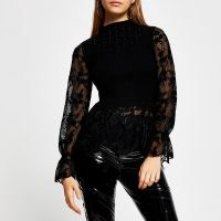 RIVER ISLAND Black lace embellished knit top ~ sheer sleeve ribbed tops