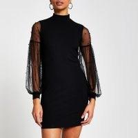 RIVER ISLAND Black long sleeve high neck bodycon dress ~ party dresses ~ sheer sleeve lbd