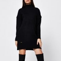 River Island Black long sleeve mini jumper dress | knitted high neck winter dresses