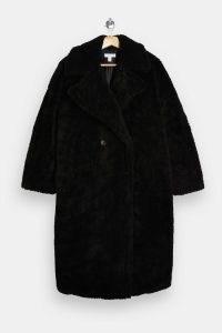 Topshop Black Longline Borg Coat – textured winter coats