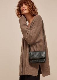 WHISTLES LUCA CROC FOLDOVER BAG / black crocodile effect crossbody / small shoulder bags