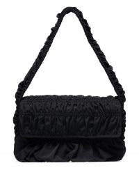 Molly Goddard Bumpy baguette shoulder bag / black ruched handbags