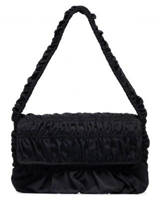 Molly Goddard Bumpy baguette shoulder bag / black ruched handbags - flipped