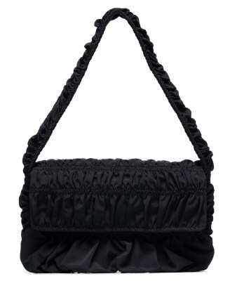 Molly Goddard Bumpy baguette shoulder bag / black ruched handbags