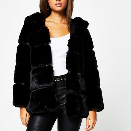 RIVER ISLAND Black panelled hooded faux fur coat - flipped