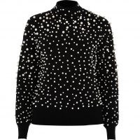 RIVER ISLAND Black pearl embellished jumper