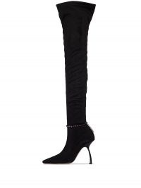 Piferi Black Mirage 100 thigh-high boots | crystal anklet long boots