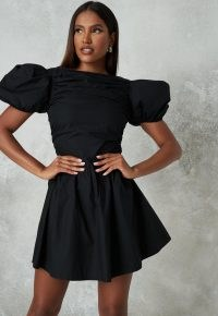 MISSGUIDED black poplin ruched puff sleeve skater dress ~lbd ~ volume sleeve fit and flare ~ party dresses