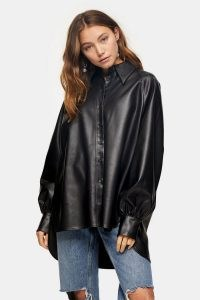 Topshop Black PU Oversized Shirt – faux leather dip hem shirts