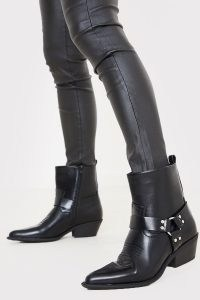 IN THE STYLE BLACK PU RING DETAIL WESTERN BOOTS