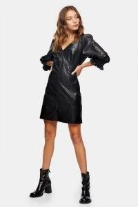 TOPSHOP Black PU V Neck Mini Dress ~ LBD ~ faux leather party dresses