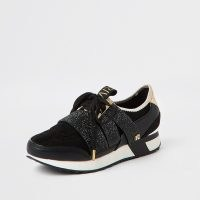 River Island Black RI branded embellished runner trainers | sports luxe shoes