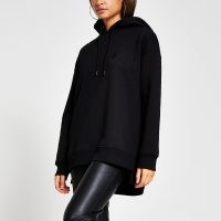 RIVER ISLAND Black 'RI Couture' longline hoodie ~ pullover hoodies ~ casual fashion