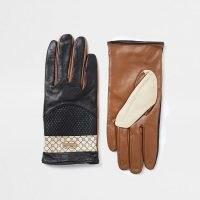 RIVER ISLAND Black RI monogram panelled gloves ~ colour block accessories