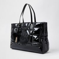 RIVER ISLAND Black RI puffa shopper bag | high shine padded shoppers