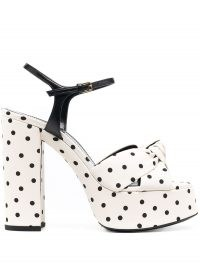 Saint Laurent Bianca polka dot sandals / chunky 70s style platforms / monochrome high block heels