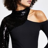 RIVER ISLAND Black sequin cut out long sleeve top | one shoulder party tops | evening glamour | glamorous going out fashion