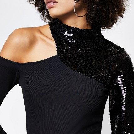 RIVER ISLAND Black sequin cut out long sleeve top | one shoulder party tops | evening glamour | glamorous going out fashion - flipped