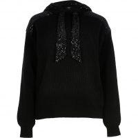 RIVER ISLAND Black sequin ribbed hoodie / shimmering hoodies / sequinned hooded tops / sparkling knitwear