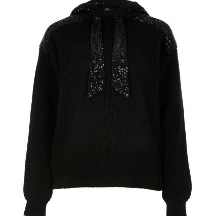 RIVER ISLAND Black sequin ribbed hoodie / shimmering hoodies / sequinned hooded tops / sparkling knitwear - flipped