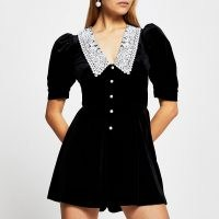 RIVER ISLAND Black short sleeve velvet collar playsuit ~ oversized lace collars ~ puff sleeved playsuits