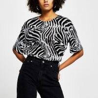 RIVER ISLAND Black short sleeve zebra print sequin t-shirt / monochrome sequinned tops