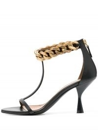 Stella McCartney chain-link strappy sandals ~ black T-bar sandal ~ chunky chain ankle embellishment